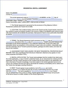 Alabama Month to Month Rental Agreement