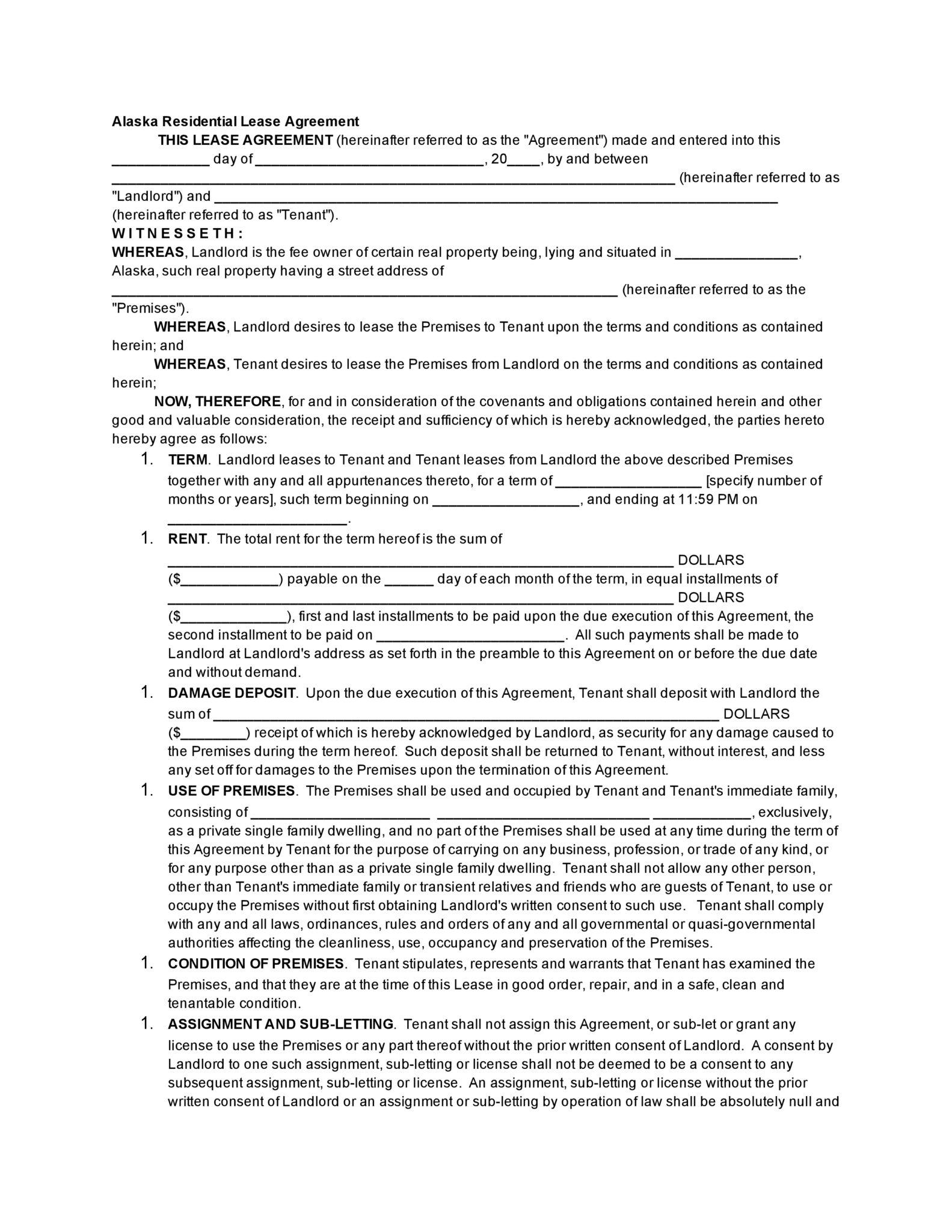 Alaska Residential Lease Agreement