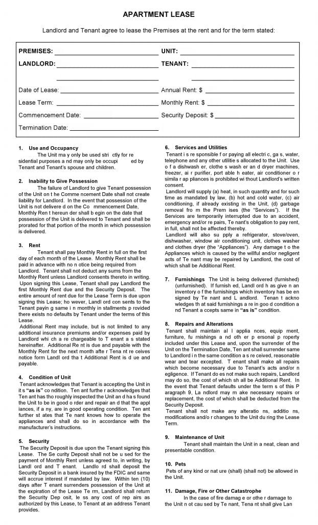 free printable apartment lease agreement printable