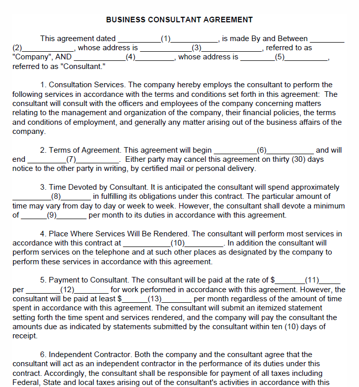 Free Printable Business Consultant Agreement Printable Agreements