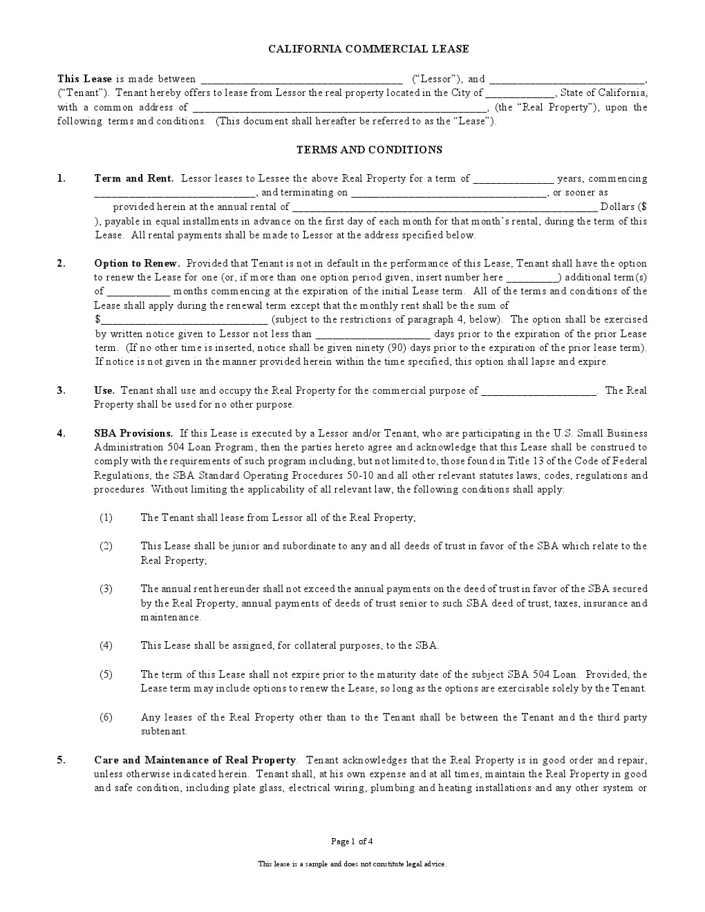 Free Printable California Commercial Lease Agreement Printable
