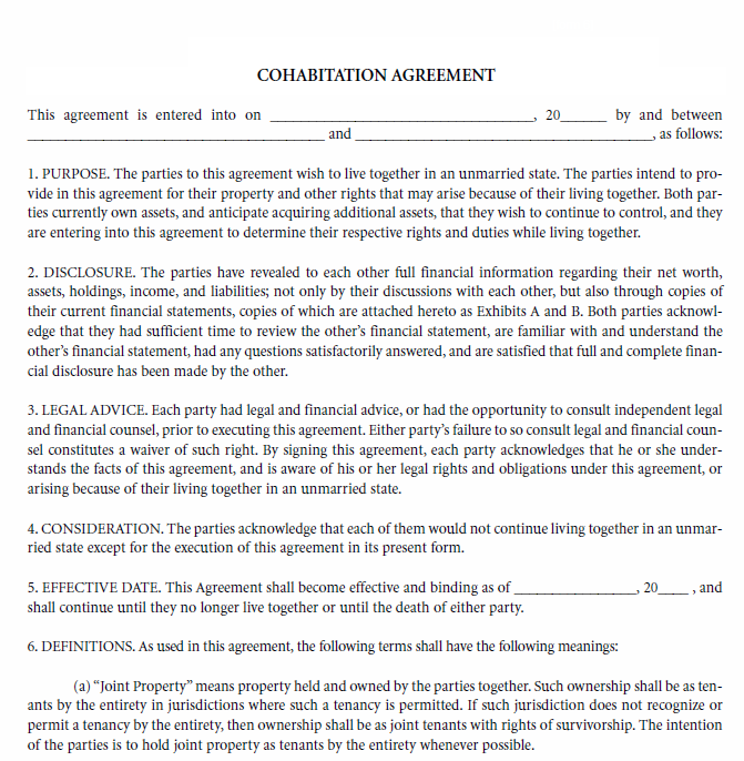 Free Printable Cohabitation Agreement Printable Agreements