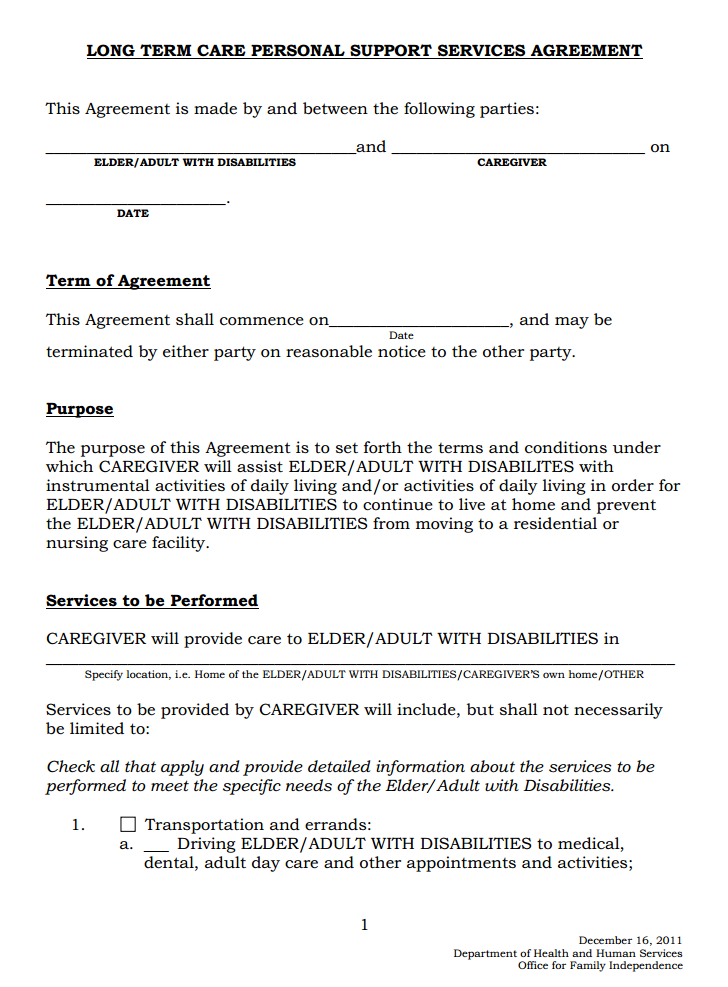 Long Term Care Personal Support Agreement