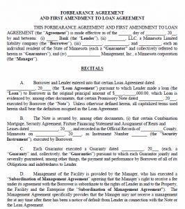 Minnesota Forbearance Agreement