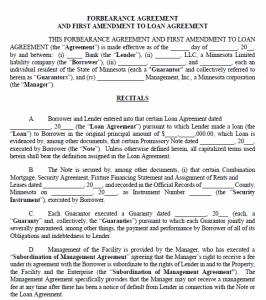 Minnesota Forbearance Agreement