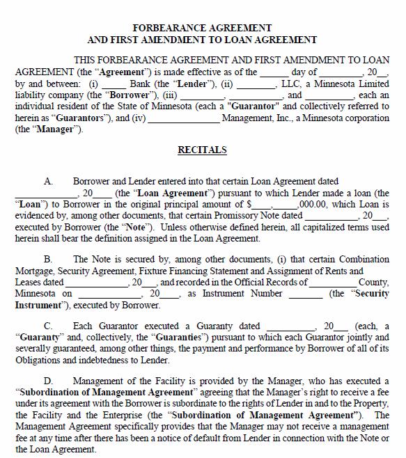 Free Printable Minnesota Forbearance Agreement Printable Agreements