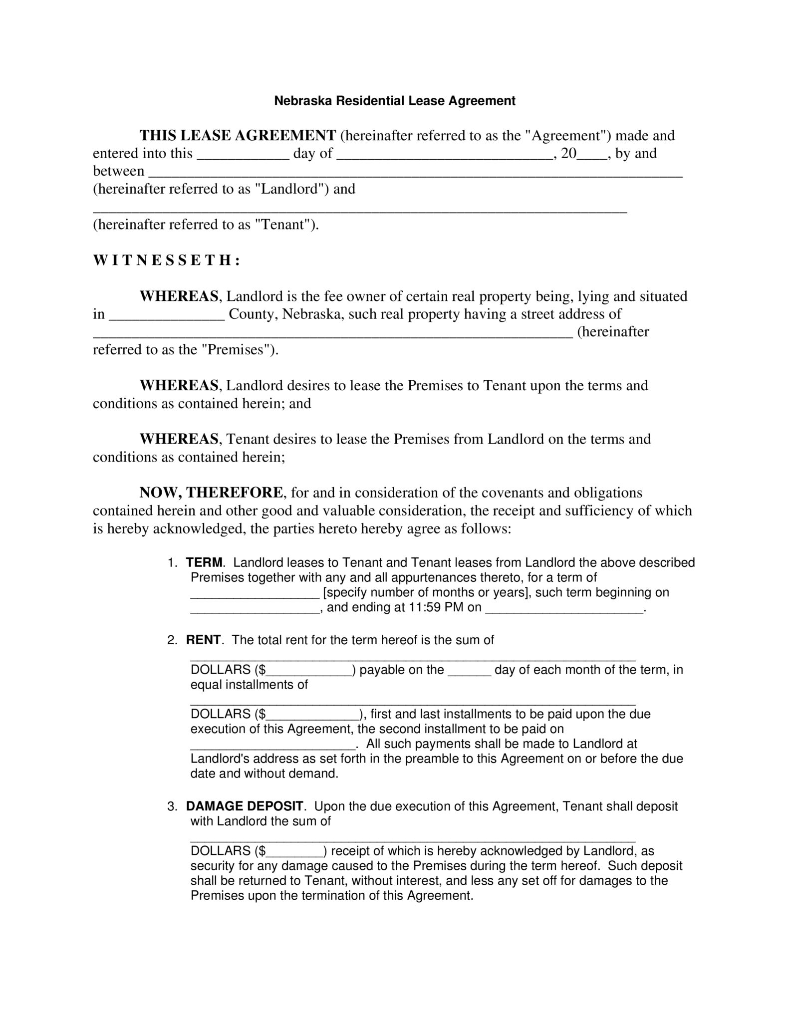 Nebraska Residential Lease Agreement