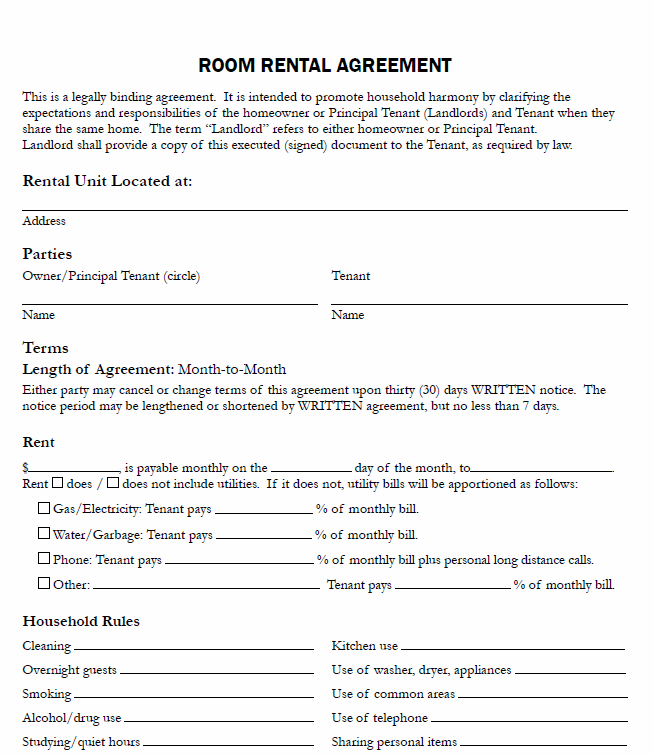 Free Printable Room Rental Agreement Printable Agreements