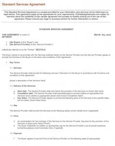 Standard Services Agreement