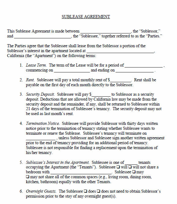 Free Printable Sublease Agreement Printable Agreements